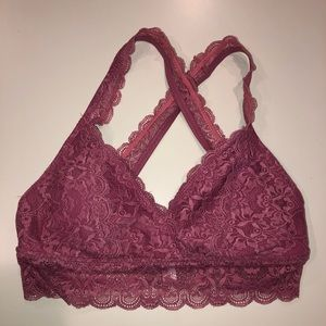 Pink padded lace bralette
